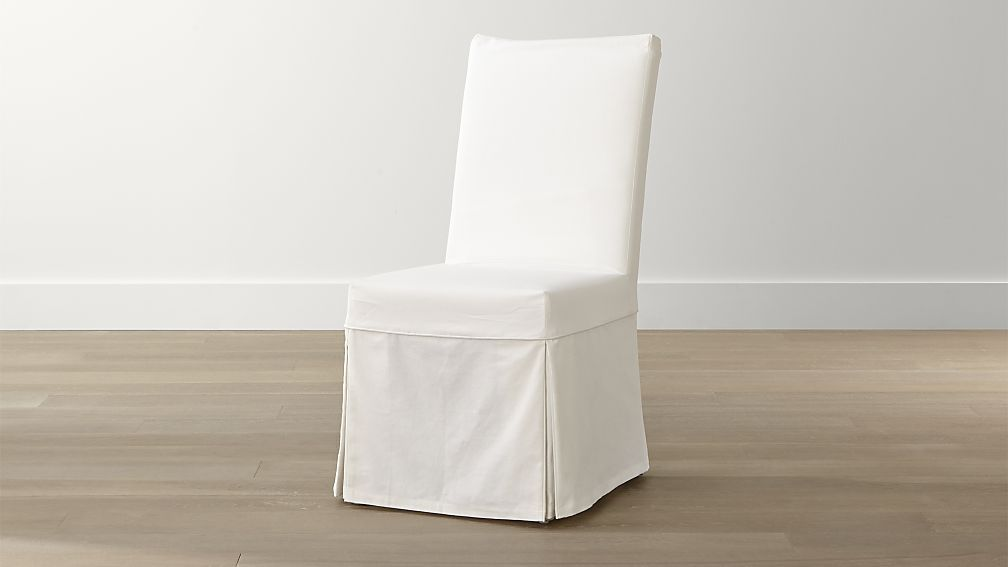 Shop Slip White Slipcovered Dining Chair The Cotton Slipcover Is Custom Fitted And Expertly