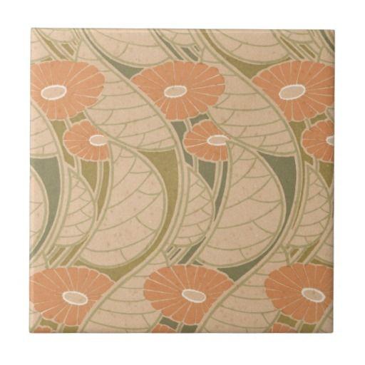 Art Nouveau Inspired California Poppy By Mason Larose: Orange Poppies Art Noueveau Style Small Square Tile (With