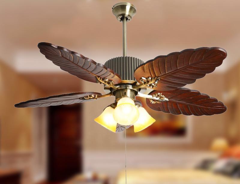 American Style Chinese Style Ceiling Fan Lights Fan Pendant Light Wood Palm Leaf Fan 3 Inpendant Lights From Li Ceiling Fan Beachfront Decor Modern Ceiling Fan