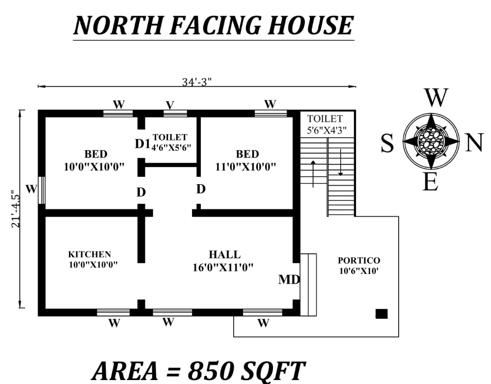 34 X21 5 2bhk North Facing House Plan As Per Vastu Shastra Autocad Dwg File Details Cadbull North Facing House 1 Bedroom House Plans 2bhk House Plan