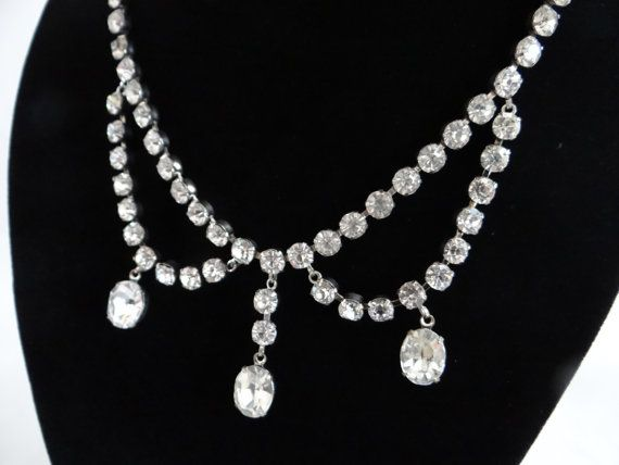 Vintage Drop Rhinestone Necklace Choker  by SecondWindShop on Etsy, $15.00