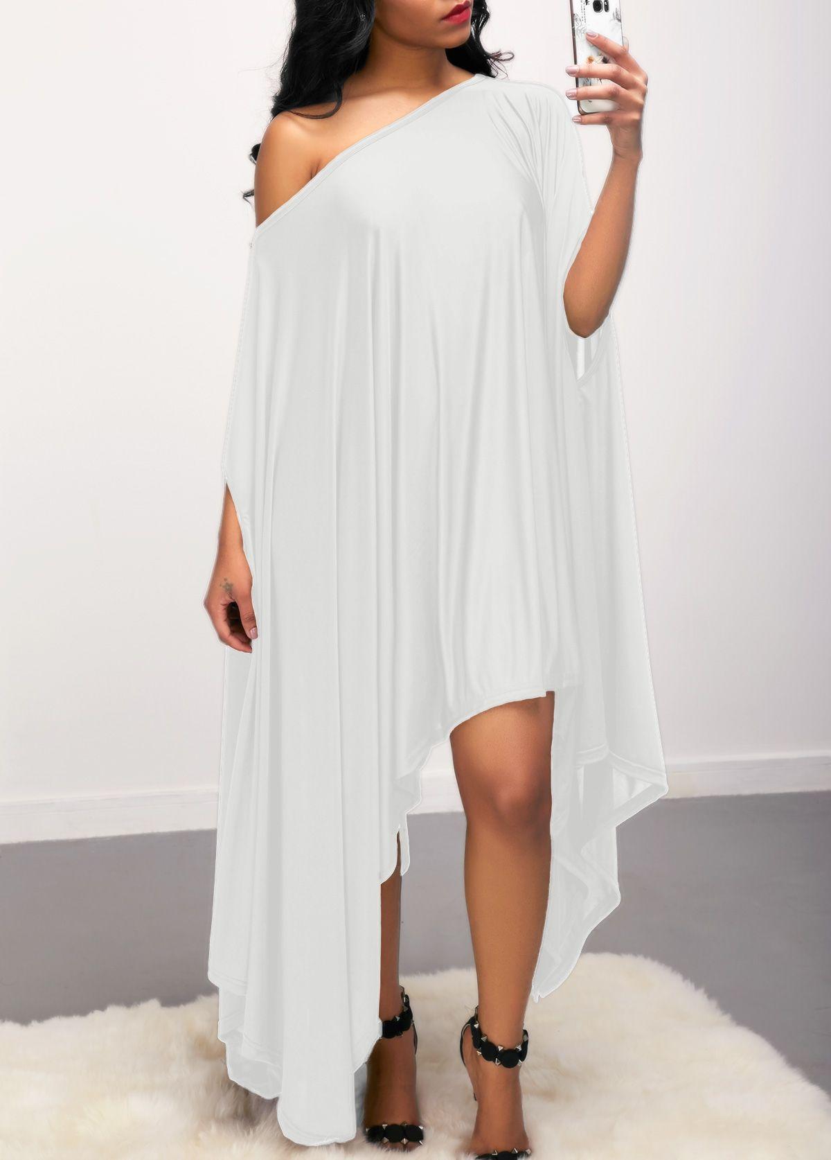White Skew Neck Asymmetric Hem Dress | Rosewe.com - USD $27.12 | All ...