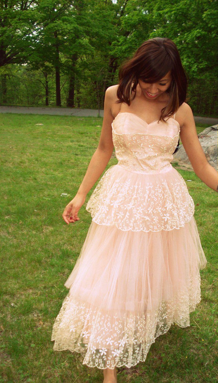 Abigail pink retro us weddingprom dress via etsy