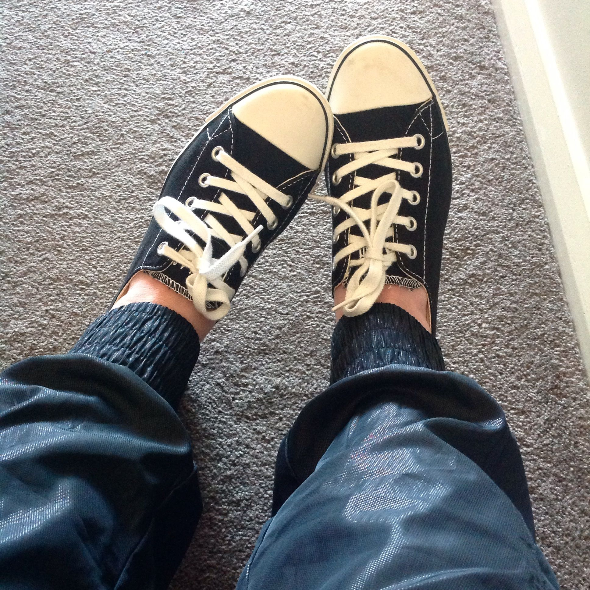 Wearing my AFOs with converse flats and Lorna Jane pants. These pants have  zippers at