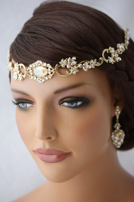 Wedding Hair Accessory Gold Forehead Band Vintage Headband Swarovski  Rhinestone Halo Headpiece RYAN 2513c1e64be6