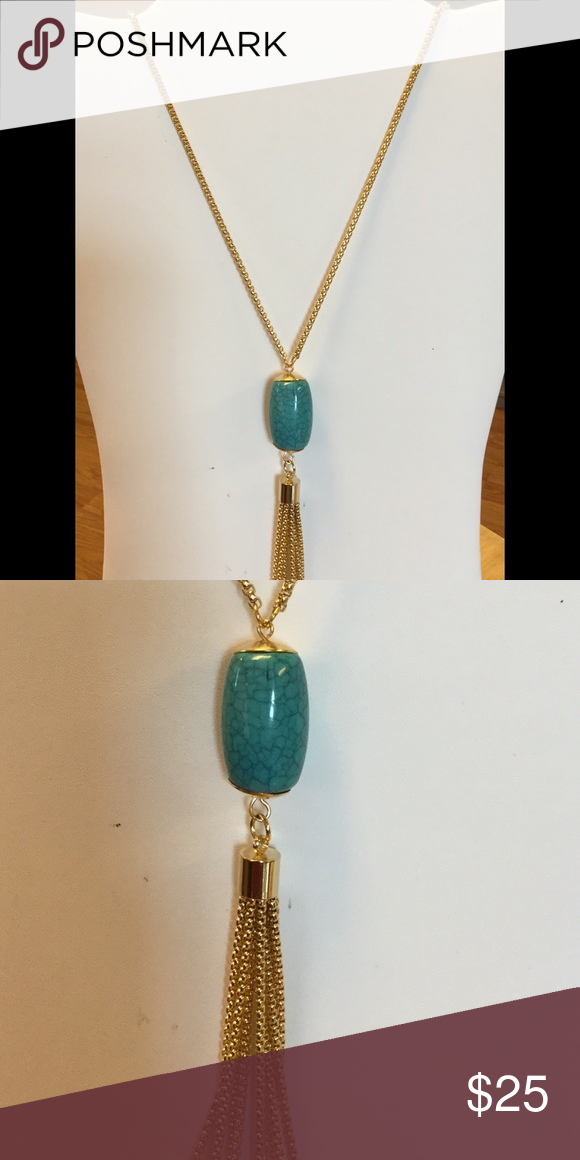 Tassel Necklace Turquoise Stainless Steel High quality Gold Plated Jewelry Necklaces