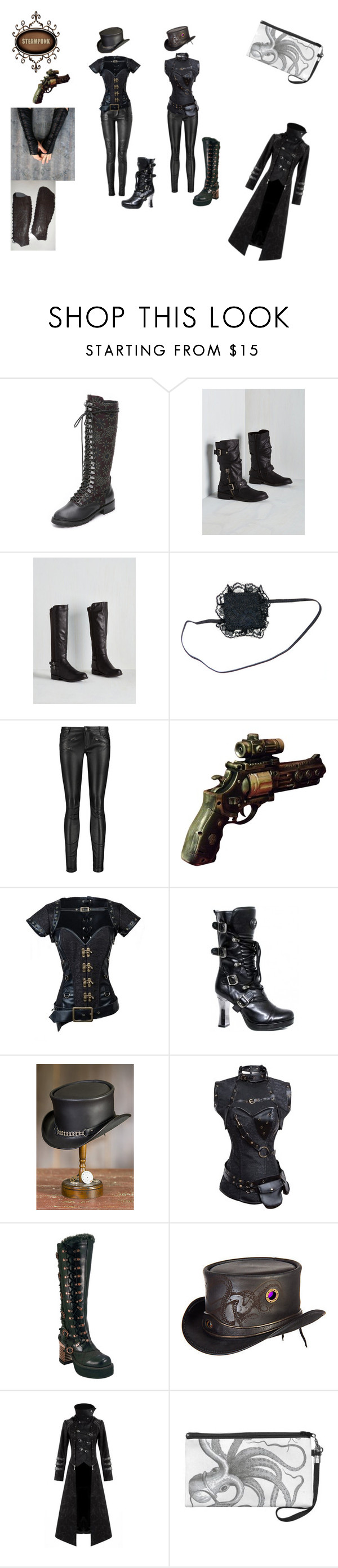 """""""STEAMPUNK: Warioress - Black style"""" by misshollowpointslug ❤ liked on Polyvore featuring Alice + Olivia, Balmain, Maje, Retrò, Overland Sheepskin Co., Beston, Hooded Trench and steampunk"""