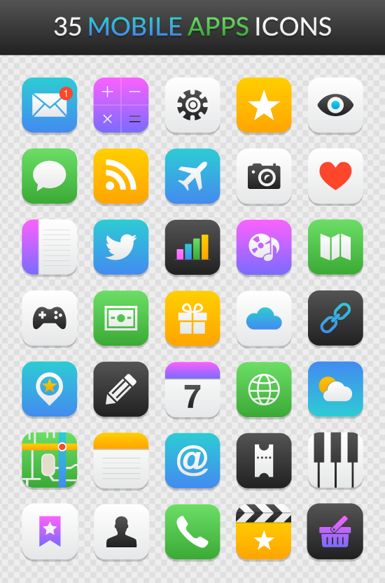 Freebie Mobile App Icon Set for Illustrator &