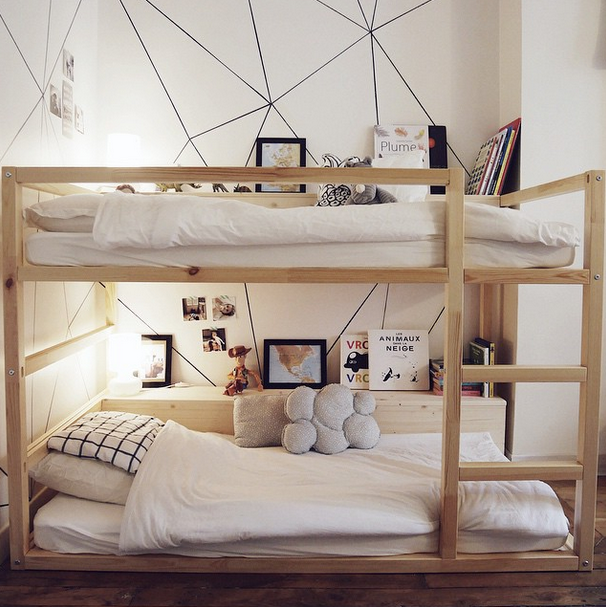 Ikea Bed Kinder.Ikea Kura Bed Transformed Into Bunk Beds With Shelves