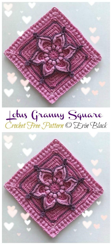 Lotus Granny Square Crochet Free Pattern – Crochet & Knitting – Basteln Häkeln