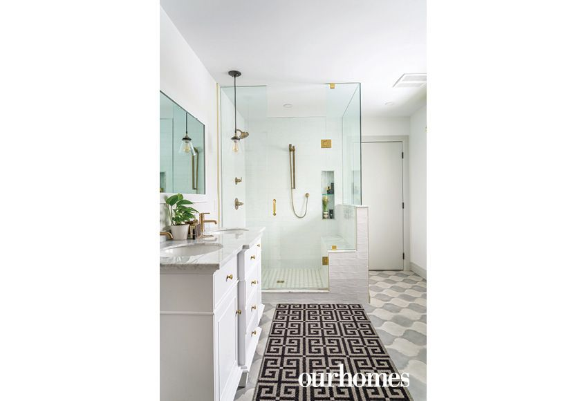 The Master En Suite Gets Graphic Tile With White Walls And Brass