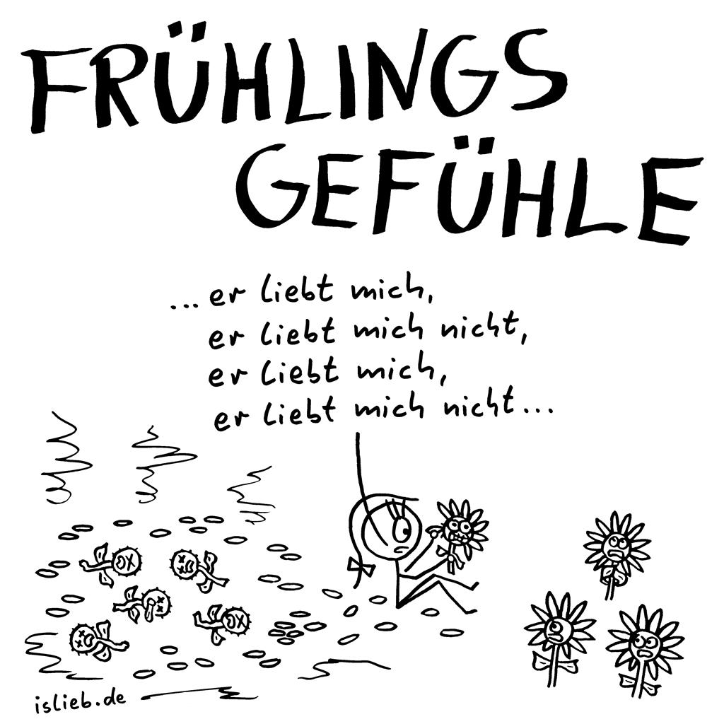 Frühlingsgefühle | islieb.de = Strichmännchen-Comics & Cartoons | Frühling, Liebe, verliebt, Blumen, #islieb