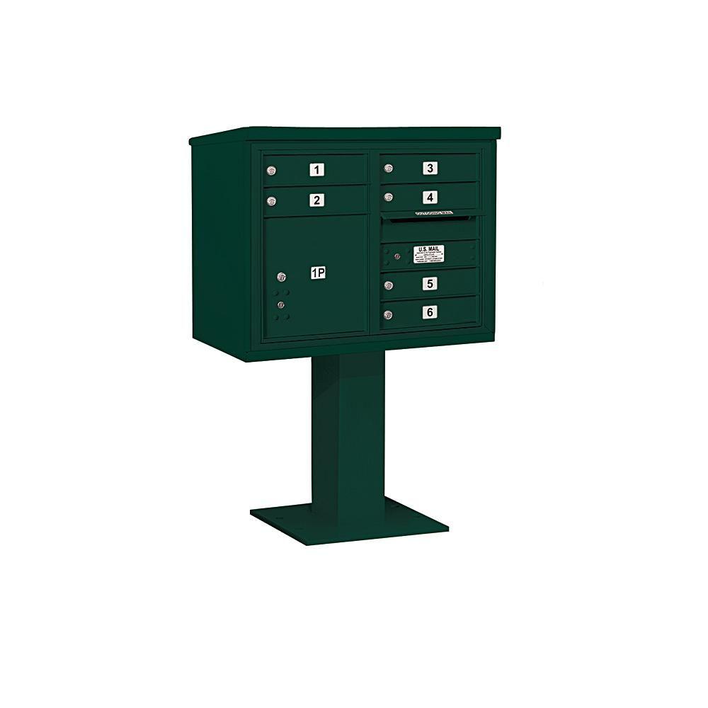 Salsbury Industries 3400 Horizontal Series 6 Compartment 1 Parcel Locker Pedestal Mount Mailbox Green Mounted Mailbox Mailbox Post Box Wall Mounted