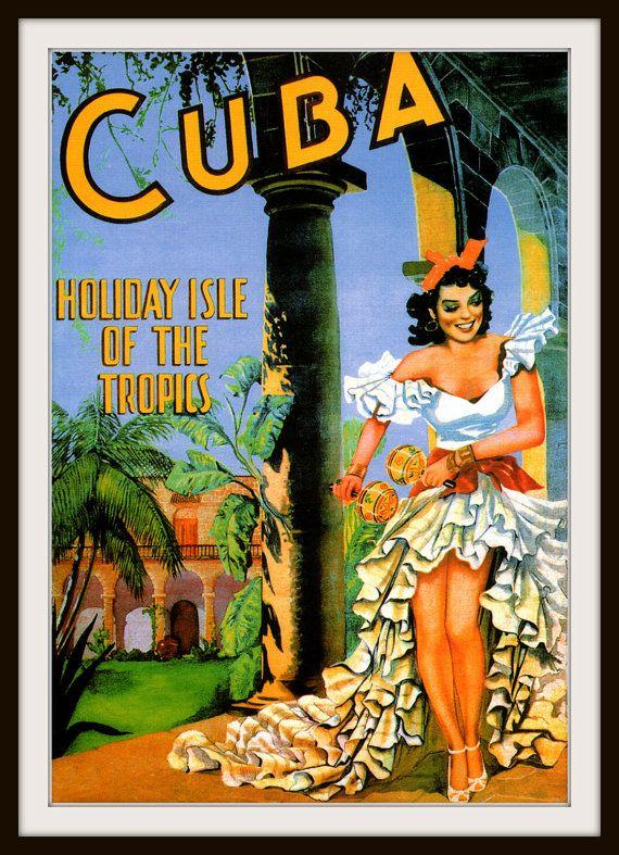 Giclee Print Cuba Dancing Woman Vintage Travel Etsy Retro Travel Poster Vintage Postcards Travel Vintage Travel Posters
