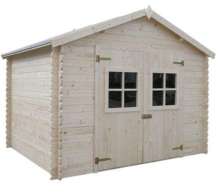 Caseta de madera de abeto de 3 15 x 3 02 m lessay leroy for Casetas de madera prefabricadas leroy merlin