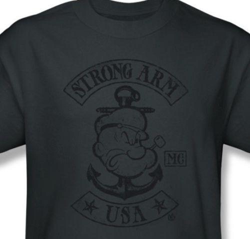 Popeye-T-shirt-USA-navy-comic-cartoon-tattoo-cotton-retro-80s-tee-Pin-Up-pye725