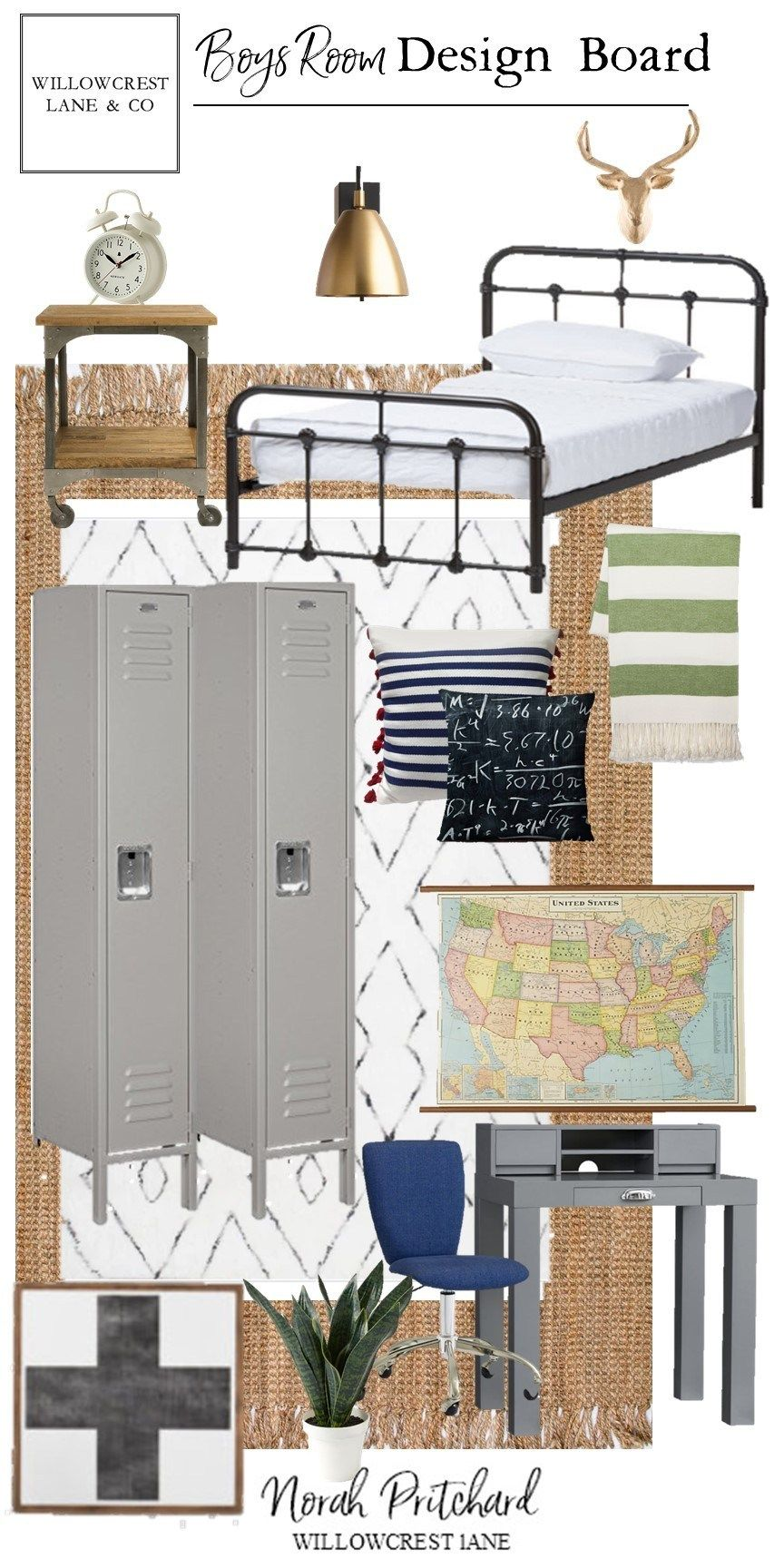 Vintage Industrial Bedroom - Design Board images