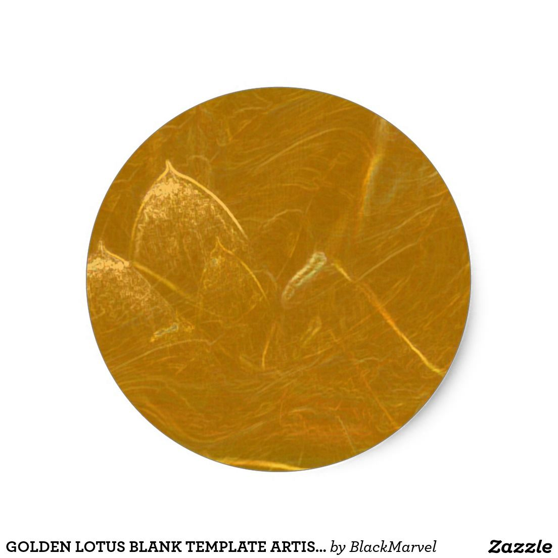 Gold n Copper Sheet : Lotus Engraved Design Classic Round Sticker