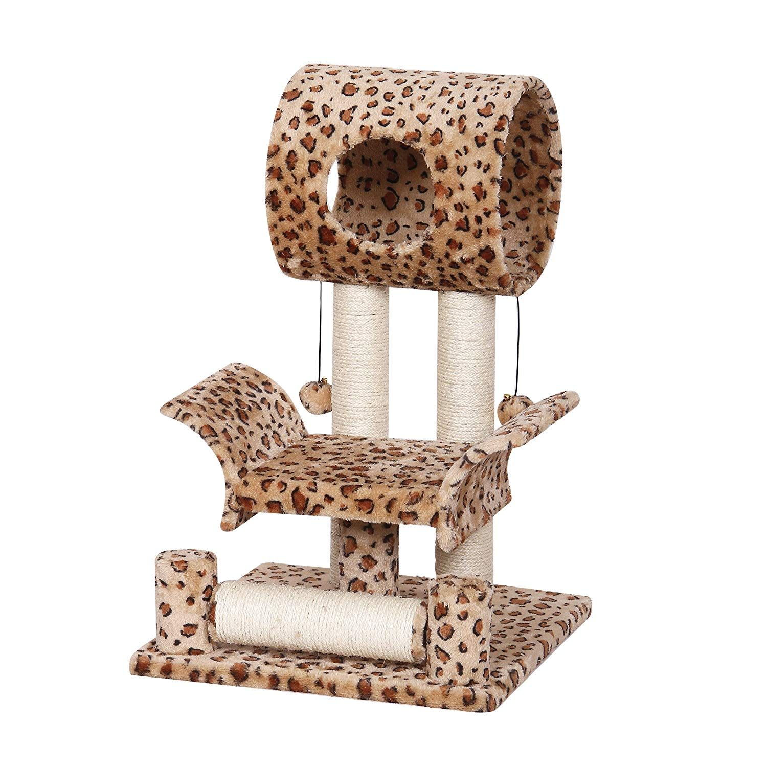Catry Leopard Print Cat Tree Condo House 18 X 18 X 28 Brown You Can Find Out More Details At The Link Of The Image Cat Tree Condo Cat