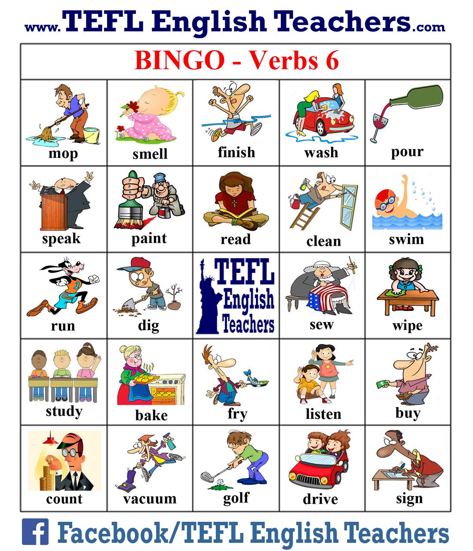 Tefl English Teachers Bingo Verbs Game Board 6 Of 20 English Class Games English Verbs Verb Games [ 1283 x 1100 Pixel ]
