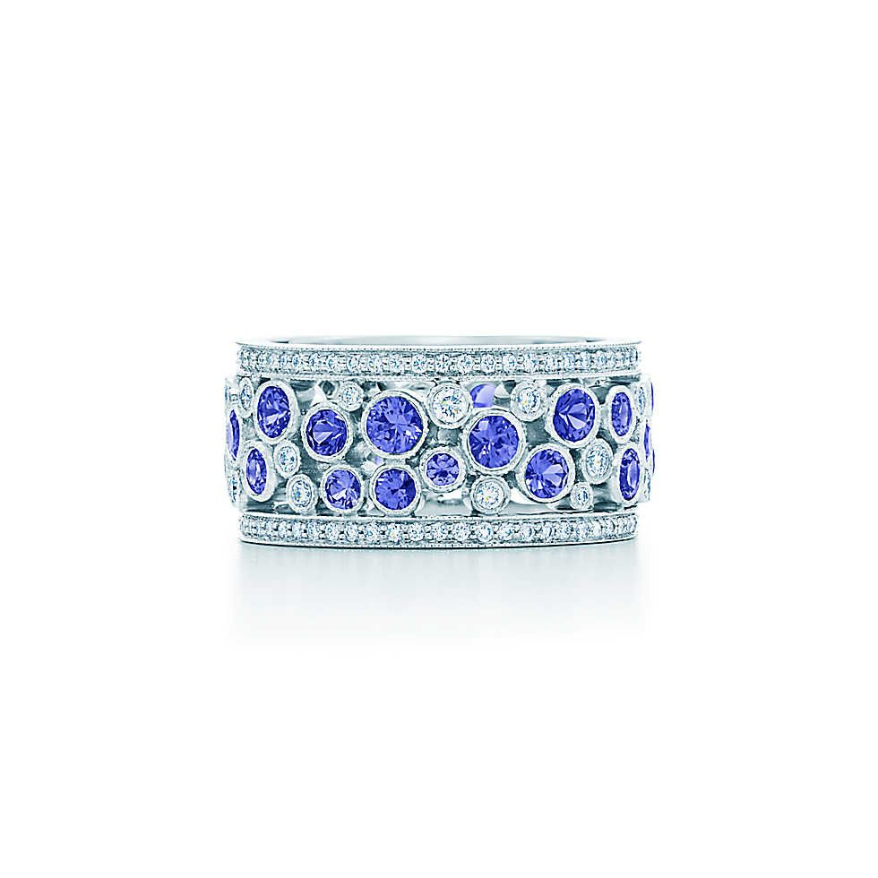 Diamond And Sapphire Band Ring Sea Inspired Jewelry In