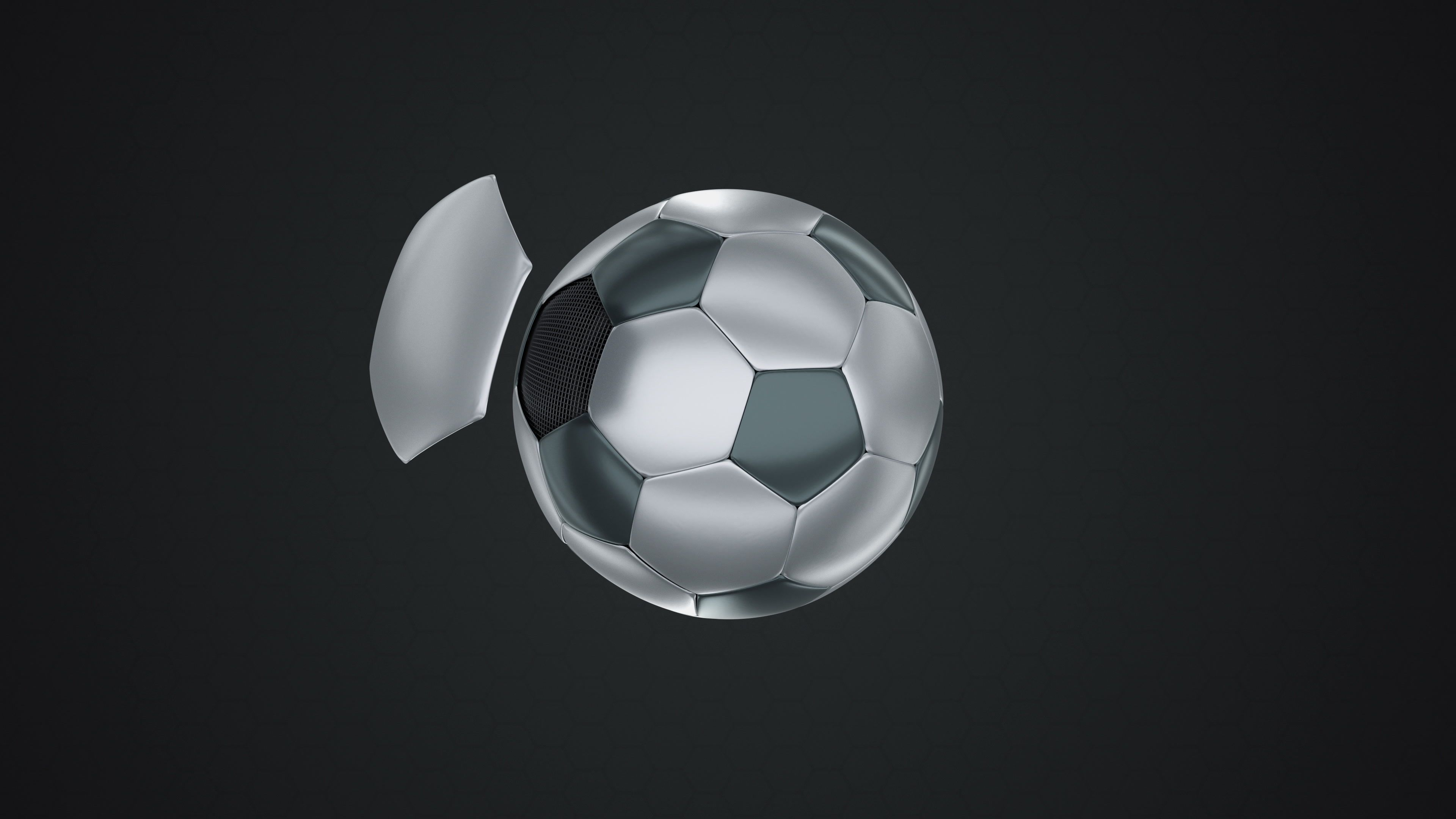 Black And White Metallic Football Flying In And Out On Dark Background Stock Footage Metallic Football Black White Black And White Dark Backgrounds Metal