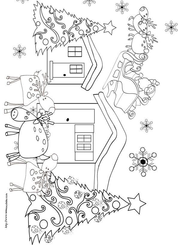 Coloriages des rennes de no l free printable xmas and - Coloriage de renne ...
