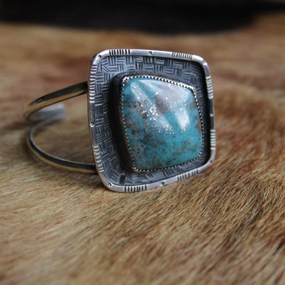 Turquoise Shadowbox Cuff. Nacozari turquoise cuff bracelet. Sterling silver textured hiqh quality pyrite included turquoise. @littlehobobird on instagram littlehobobirdwares.etsy.com