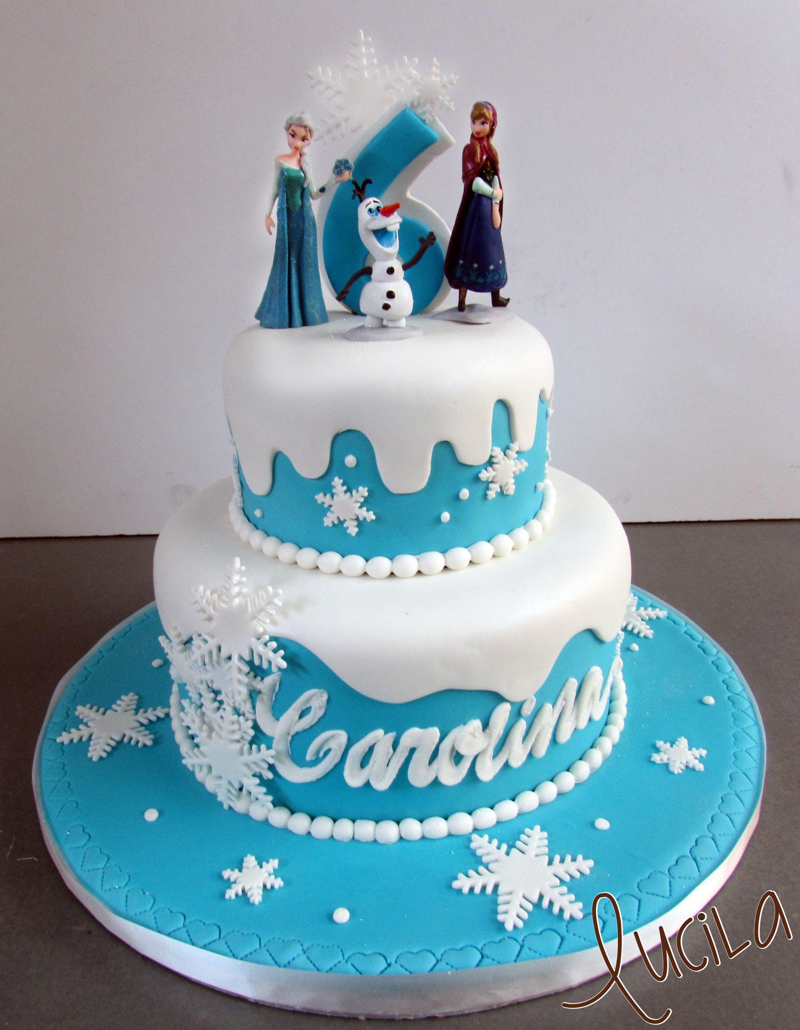 Two Tier Fondant Cake With Frozen Characters On Top