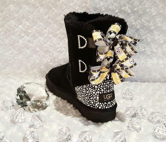 7c910308a5f Bling Ugg Bailey Bow Boots, Women's Custom Black Pittsburgh Steelers ...