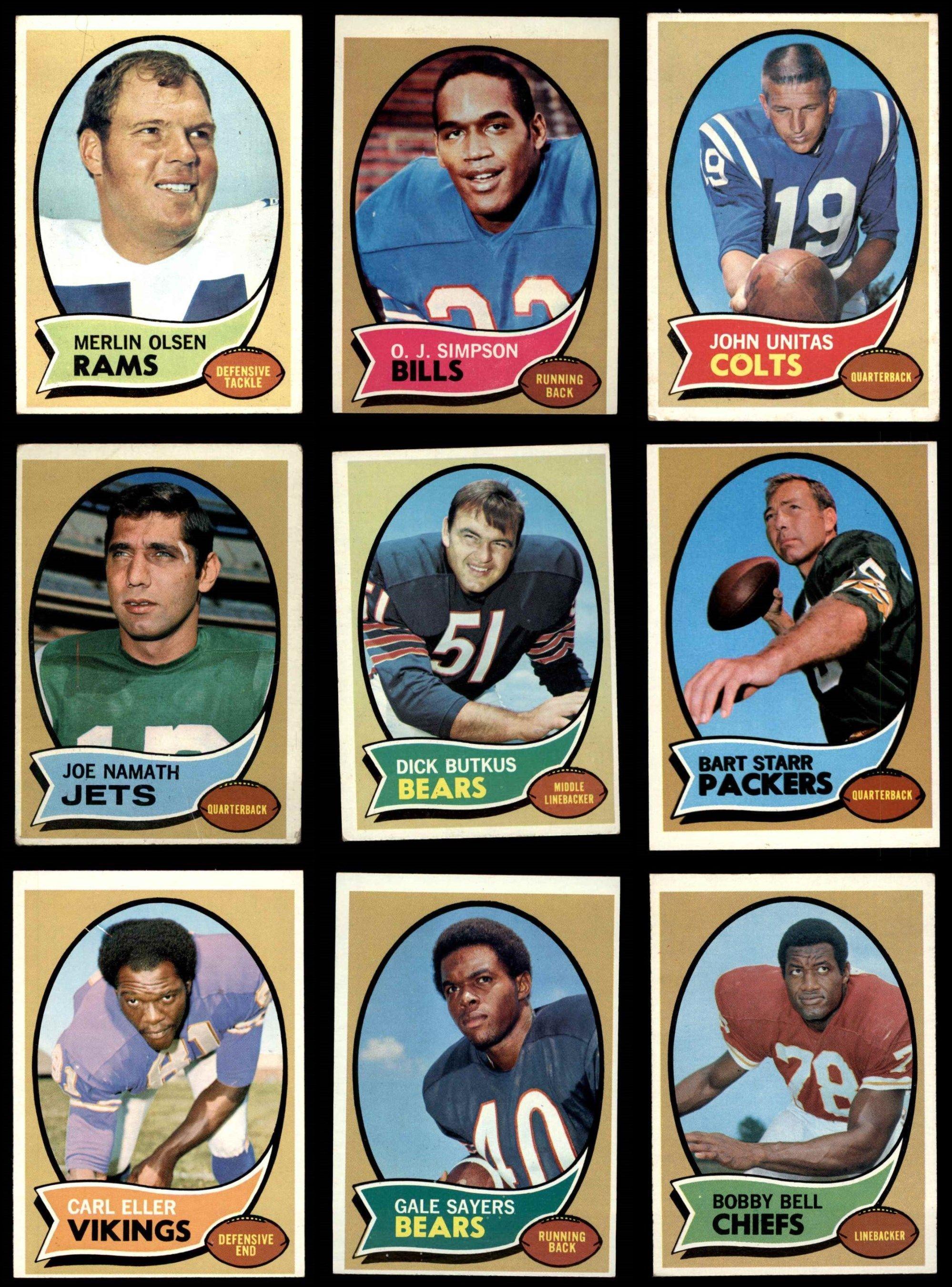1970 topps football complete set vgex m6851 bears