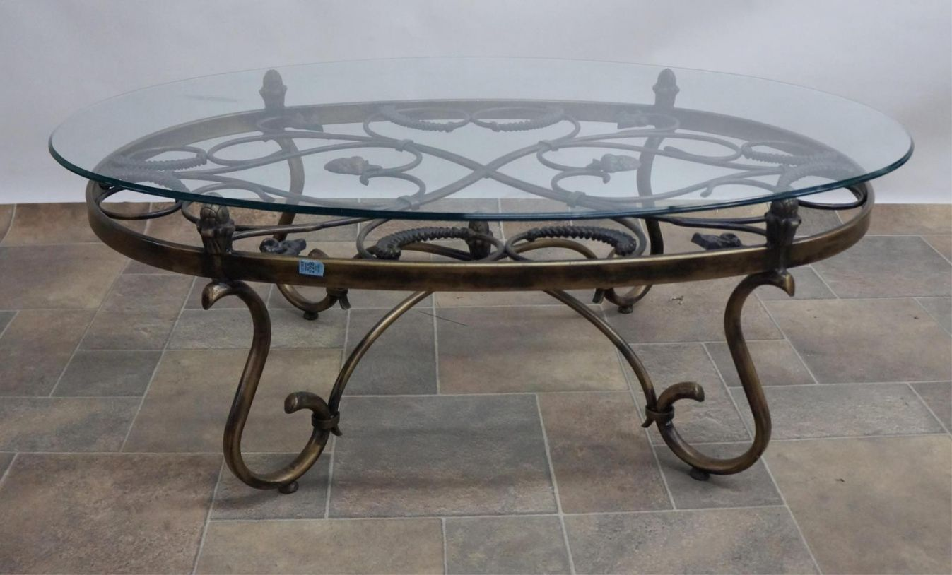 Wrought Iron Coffee Tables with Glass top Modern Home Furniture