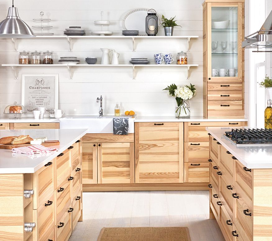 Spruce Up Your Kitchen With These Cabinet Door Styles: A Large Kitchen With SEKTION/TORHAMN Natural Ash Doors