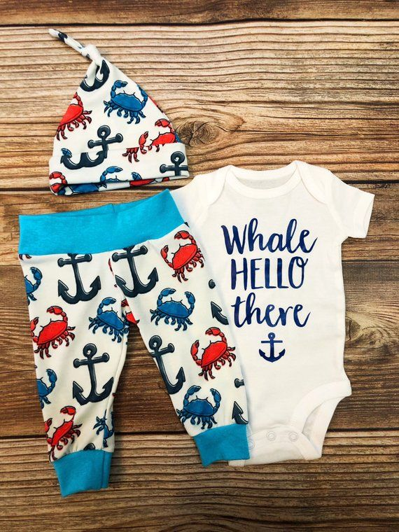 Photo of Nautical Crab, Newborn Coming Home Outfit, Baby Boy Outfit, New Baby, Crab Theme, Nautical Theme