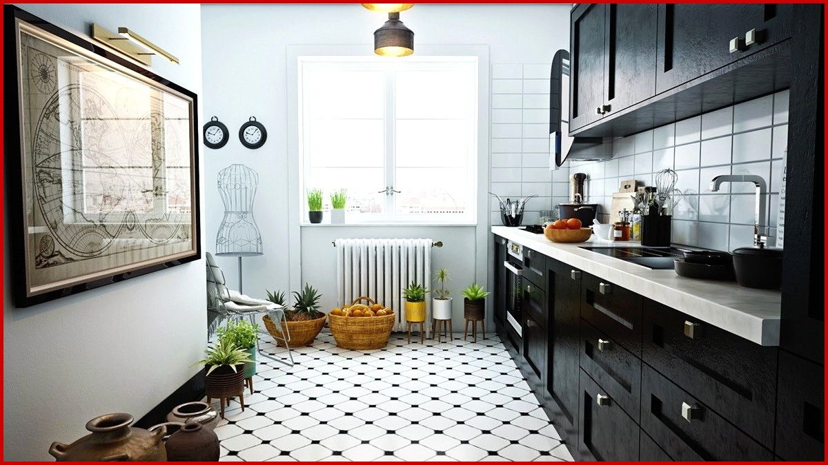 Black White Kitchen Floor Tile 250144 Black And White Kitchen