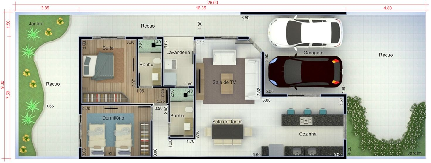 Planta de casa t rrea contempor nea planta para terreno for Design moderno casa contemporanea con planimetria