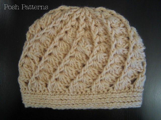 Crochet PATTERN - Shell Stitch Crochet Hat Pattern   Gorros, Tejido ...