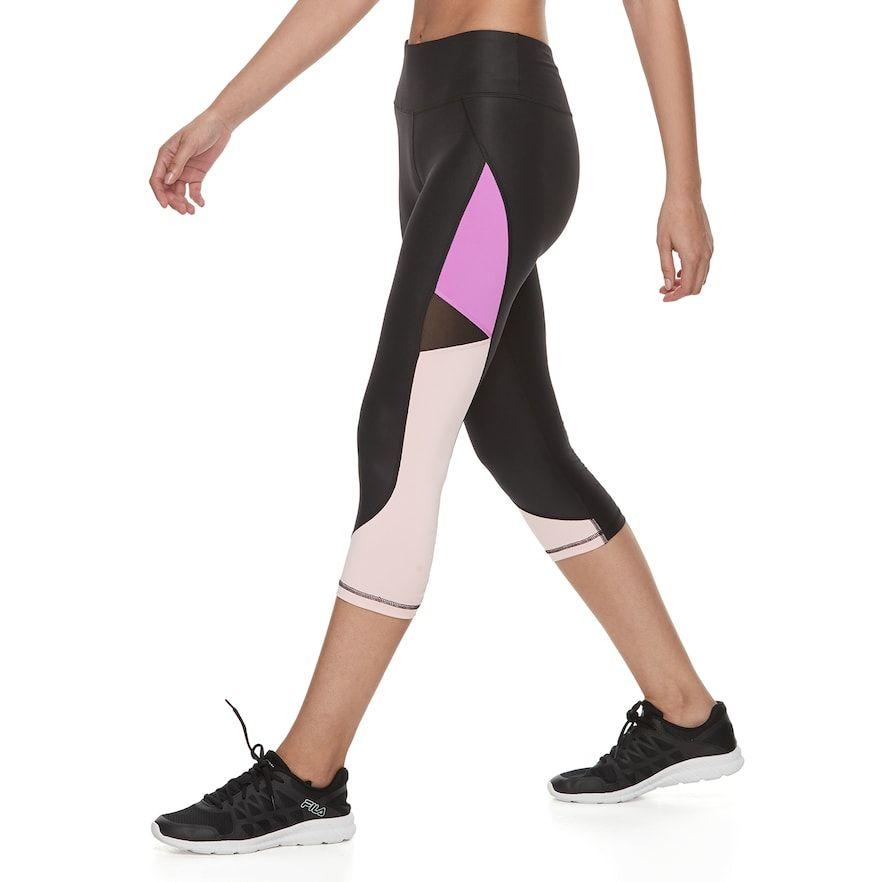 0b410a7aa135 Women's FILA Sport® Shiny Ruched Midrise Capri Leggings, Size: XS, Black
