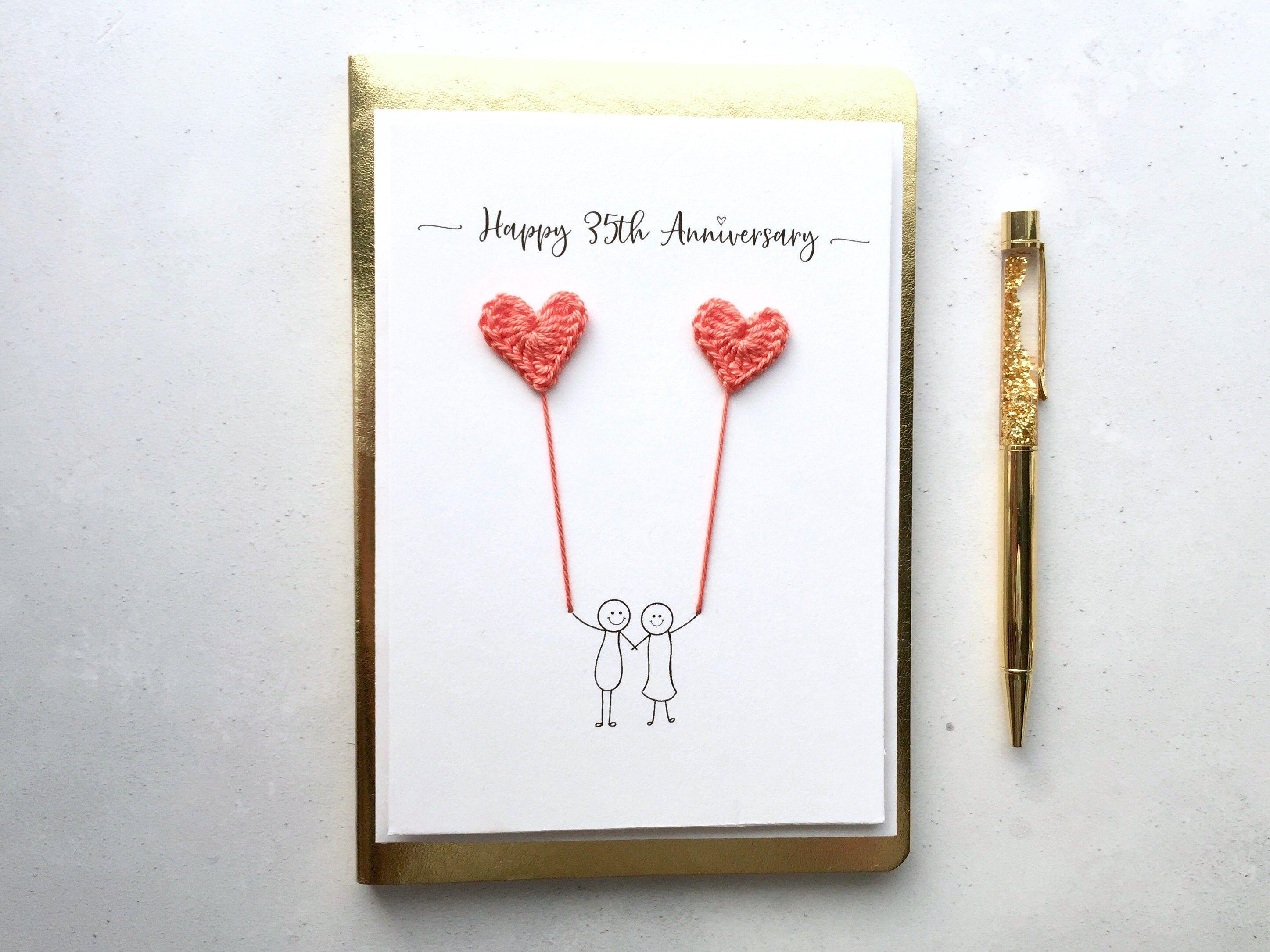 35th anniversary card coral wedding anniversary