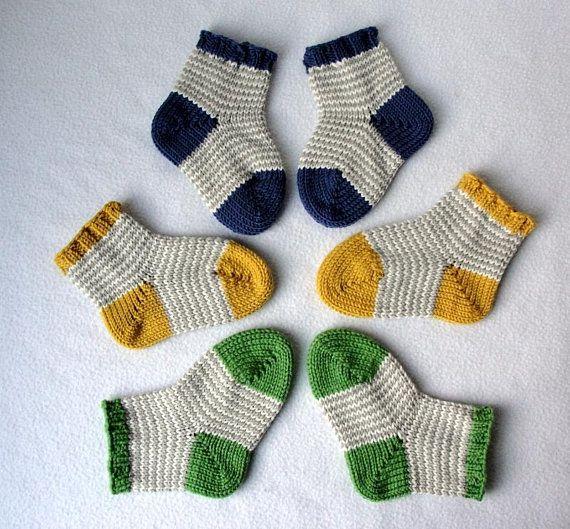 Photo of KNITTING PATTERN / William's Baby Socks / knit sock pattern / baby sock pattern / striped sock pattern Sizes 0-24 mos / Striped Baby Socks