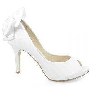 5f12057282 Sapato de Noiva Peep Toe Laura Porto Branco - MM854