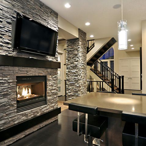 Stone Pillars Stacked Stone Fireplaces Home House Design