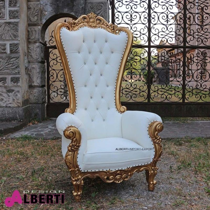Poltrona KING barocco gold/white Poltrona barocco King alta di ...