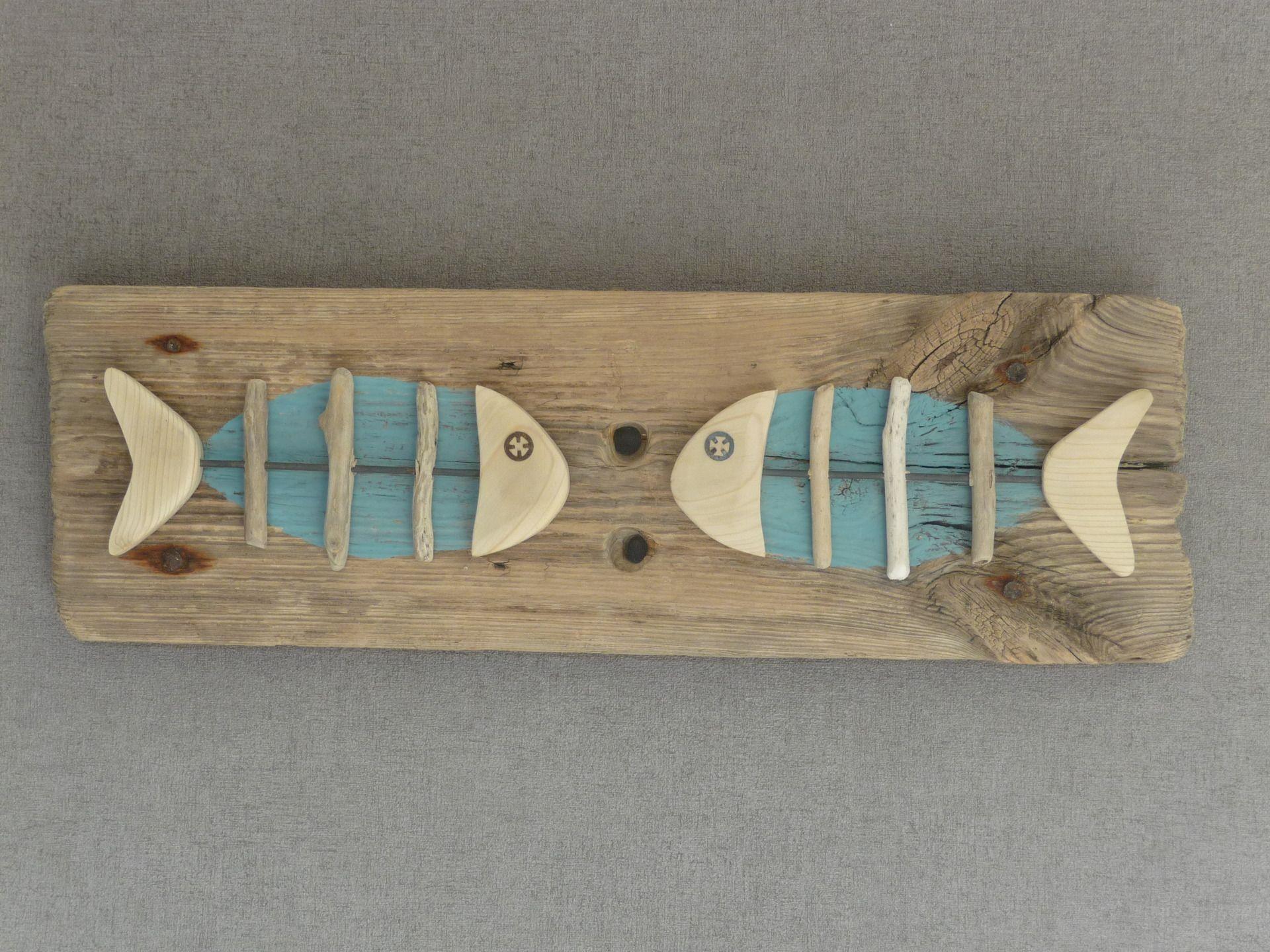 Conversation de poissons... Tableau en bois flotté. : Sculptures ...