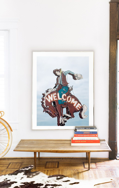 Jackson Hole - Welcome Cowboy Bar Sign | Leslee Mitchell Art