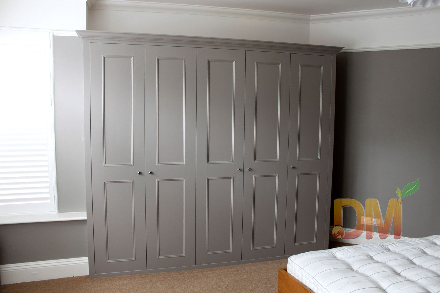 Contemporary Grey Free Standing Wardrobe Wooden Design