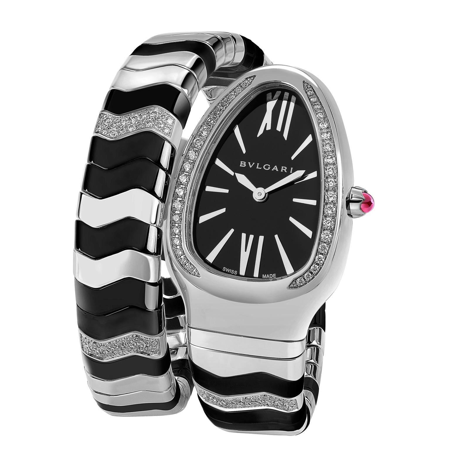 Bvlgari replica watches - Bulgari Serpenti Spiga Acier C Ramique Noire Watch