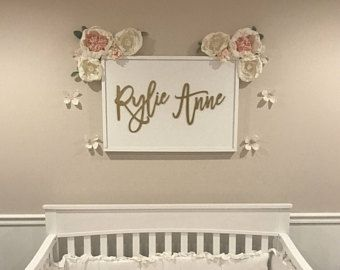 Custom Baby Name Sign Nursery Wood Wall Decor Shower Gift