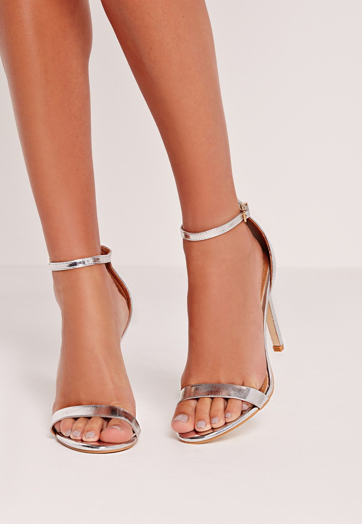 b81b6d2e49f Missguided - Barely There Heeled Sandal Silver