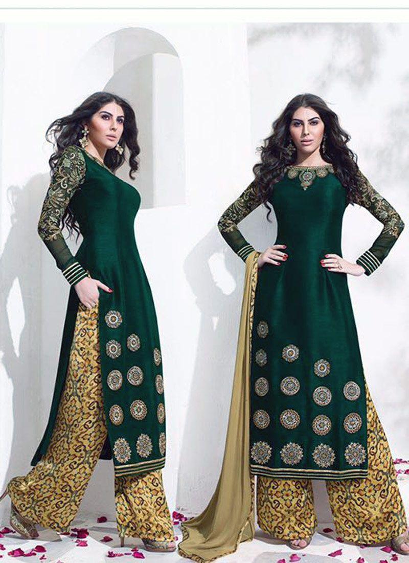 cb2bf09e1b Magnificent Green Raw Silk Designer Salwar Kameez - Luxefashion Internet Inc